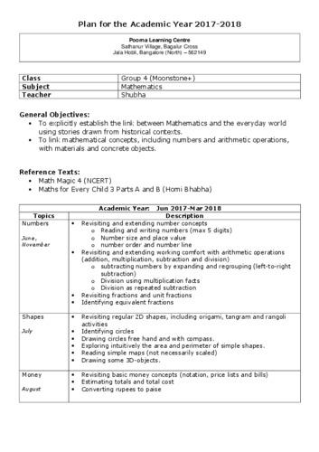 Maths Annual Plan