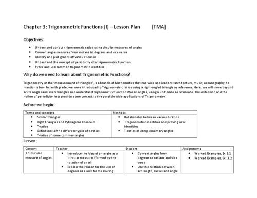 Chapter 3 - Trigonometric Functions - I